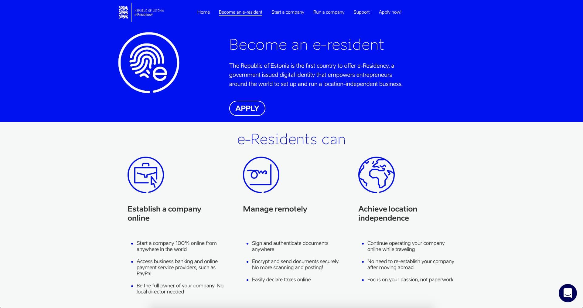 e-Residency website