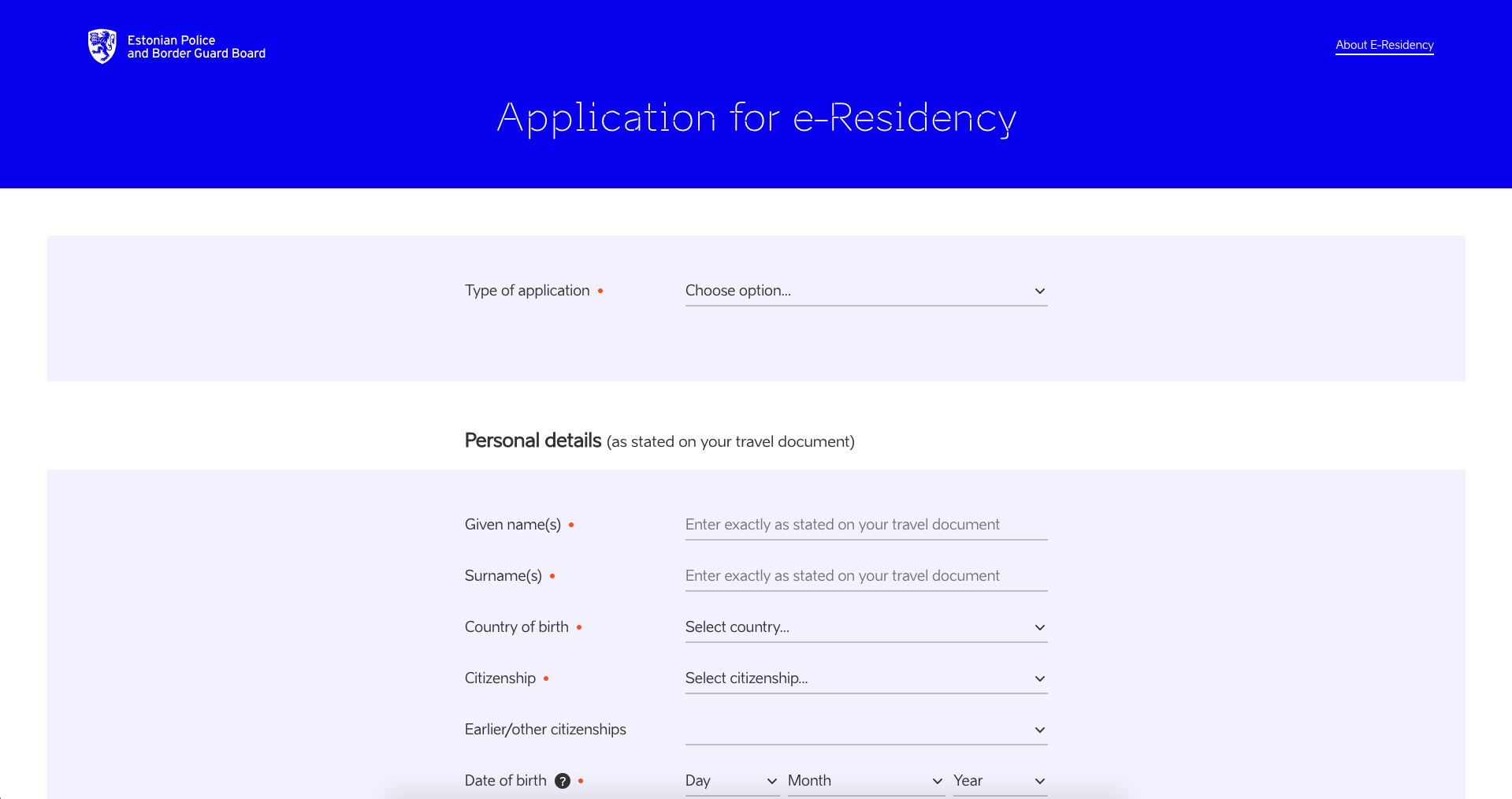 e-Residency application form