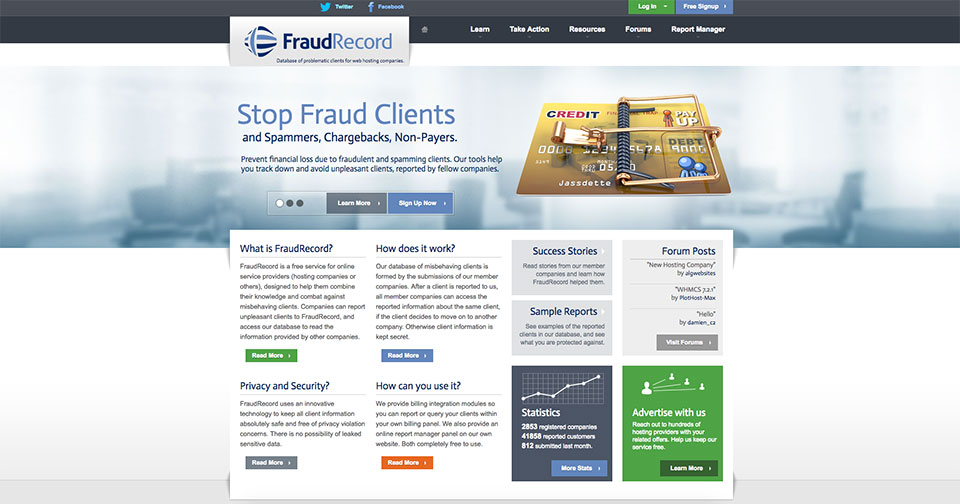 FraudRecord homepage