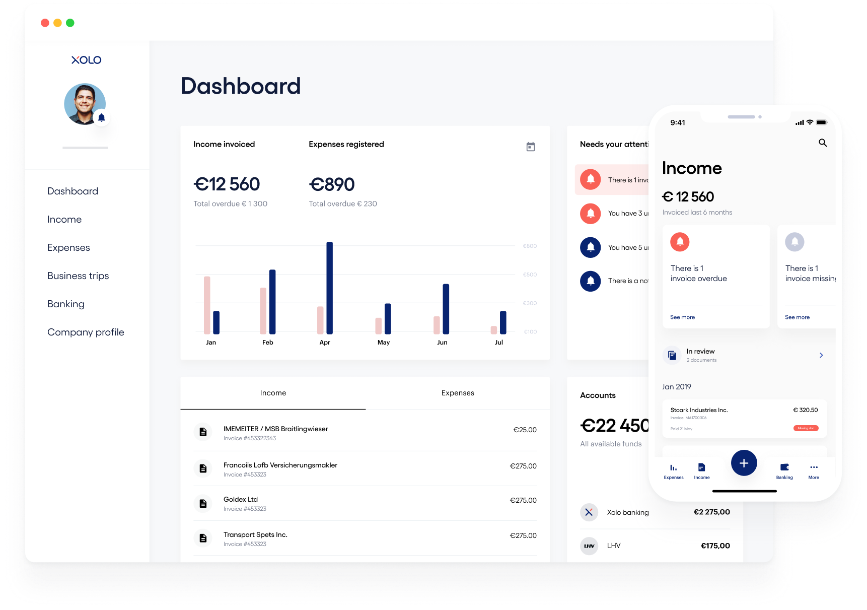 Image of Xolo selfservice dashboard and app