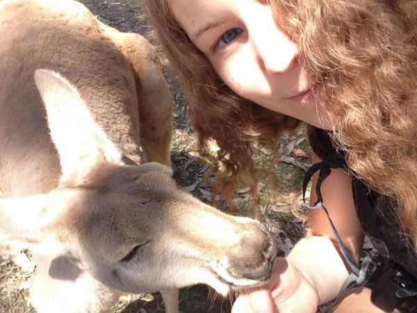 Michelle with a kangaroo