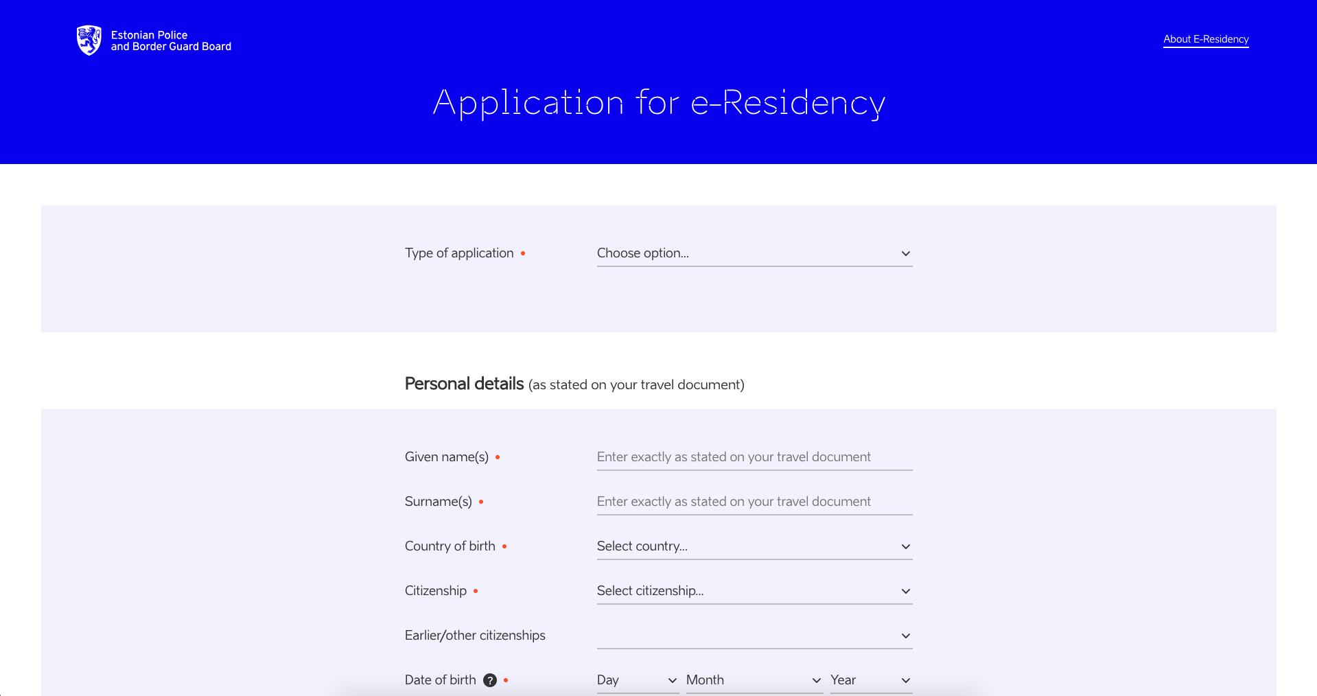 e-Residency application form